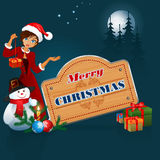 Merry Christmas, design background with Santa Girl and wooden sign. Christmas balls, Snowman, Gift Box, Candle and Christmas tree branch; Moonlight scene with Royalty Free Stock Images