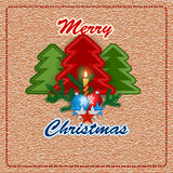 Merry Christmas, design background with sewing fabric Christmas tree and Candle light Royalty Free Stock Photography