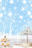 Merry Christmas Design Background With White Snow - Graphic Painting Texture Royalty Free Stock Photo