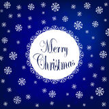 Merry Christmas design with beautiful various snowflakes. Vector logo, typography in blue. Usable as banner, greeting card, gift p Stock Photography