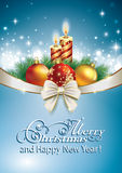 Merry Christmas. Christmas design with candles and balloons on a blue background Stock Illustration