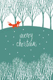 Merry Christmas design card with red fox in a winter forest Stock Images