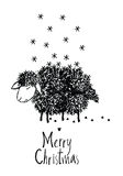 Merry Christmas design card with sheep Stock Photography