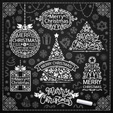 Merry Christmas Design with Chalk Word Art on Blackboard. Vintage retro style banners and stickers. Badges and lettering for a Happy New Year sign or logo vector illustration