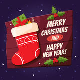 Merry christmas design elements. Bright cartoon background with holiday symbols: Christmas sock and the inscriptions Merry Christmas and Happy New Year! Holiday Royalty Free Stock Photography