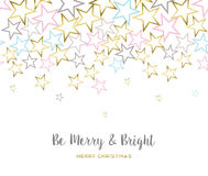 Merry christmas design with gold star decoration. Merry Christmas illustration design, gold star background with happy quote for holiday season. EPS10 vector Stock Image