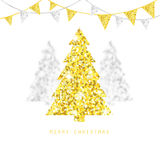 Merry Christmas design. Golden and silver Xmas trees with glitter bunting flags. Stock Image