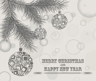 Merry Christmas design greeting card. In retro stile Stock Images