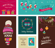 Merry Christmas Design Greeting cards - doodle illustrations Stock Photo