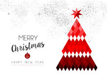Merry Christmas design of red low poly pine tree royalty free illustration