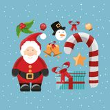 Merry Christmas design. Santa and icon set of Merry Christmas season theme Vector illustration Royalty Free Stock Photography