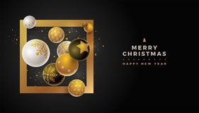 Merry Christmas Design Template. Abstract Christmas and new year greeting card design with 3d white, black and gold Christmas balls . Elements are layered Vector Illustration