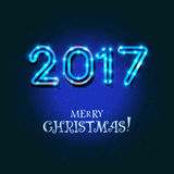 Merry Christmas 2017 design. Vector neon figures with lights. Greeting card background Royalty Free Stock Image