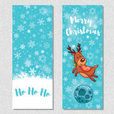Merry Christmas design vertical background set with cute cartoon deer Stock Photography