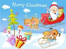 Merry Christmas Design With Santa Stock Photos