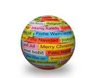 Merry Christmas   different languages on 3d sphere Stock Photo