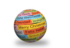 Merry Christmas  different languages on 3d sphere Royalty Free Stock Image