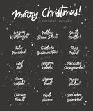Merry Christmas in different languages. Vector illustration on a black background. Elements for design. Concept festive greeting card. Lettering and Stock Photo