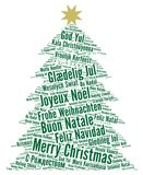 Merry Christmas in different languages word cloud. Illustration Royalty Free Stock Photo