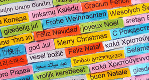 Merry Christmas  on  different languages Royalty Free Stock Images