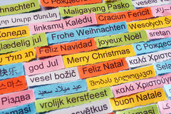 Merry Christmas  on  different languages Stock Image