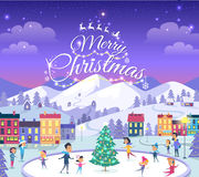 Merry Christmas. Different People on Icerink. Royalty Free Stock Photography
