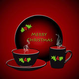 Merry Christmas. With dinnerware on red background Royalty Free Stock Photos