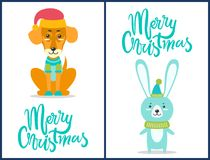 Merry Christmas Dog and Rabbit Vector Illustration. Merry Christmas, dog dressed in sweater and red hat sitting calmly and rabbit wearing green scarf, images and Stock Images