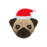 Merry Christmas Dog Pug. Vector Stock Images
