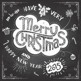 Merry Christmas doodle chalkboard Stock Photo