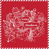 Merry Christmas doodle drawing white on red Royalty Free Stock Photography