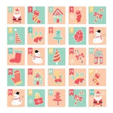 Merry Christmas doodle elements in pastel color box Stock Image