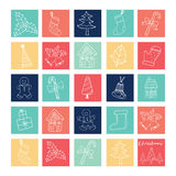 Merry Christmas doodle icons elements outline. Merry Christmas doodle icons elements in colorful box 24 days windows Royalty Free Stock Image
