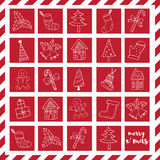 Merry Christmas doodle icons elements in red box Royalty Free Stock Image