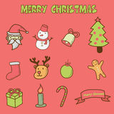 Merry christmas doodle icons Stock Photography