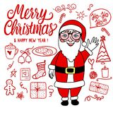 Merry Christmas Doodle Set and Santa Claus. Vector red hand drawing holiday cute elements isolated on white background. royalty free illustration