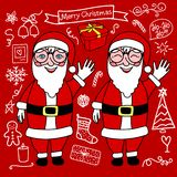 Merry Christmas Doodle Set and Santa Claus. Vector white hand drawing holiday cute elements isolated on red background. Merry Christmas Doodle Set and Santa royalty free illustration