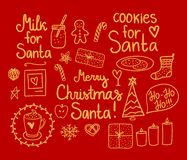 Merry Christmas Doodle Set. Vector gold hand drawing holiday elements isolated on red background. Cookies and Milk for Santa. Merry Christmas Doodle Set stock illustration