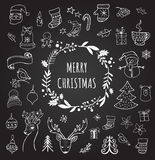 Merry Christmas - Doodle Xmas symbols, hand drawn illustrations stock illustration