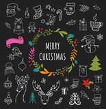 Merry Christmas - Doodle Xmas symbols, hand drawn illustrations Stock Photo