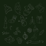 Merry Christmas  Doodle Xmas symbols, hand drawn illustrationsep Stock Photography