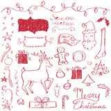 Merry Christmas Doodles. Christmas elements drawn in a doodled style Stock Image