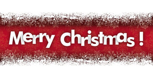 Merry Christmas Double Snow Banner Ornaments. Snow banner with text Merry Christmas Royalty Free Stock Image