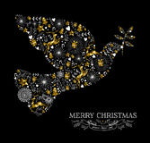 Merry christmas dove bird silhouette gold reindeer. Merry Christmas Happy New Year greeting card design, holiday elements and reindeer in gold low poly style Stock Image