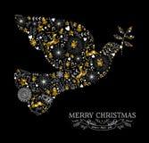 Merry christmas dove bird silhouette gold reindeer Stock Image