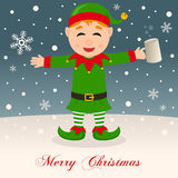 Merry Christmas with Drunk Green Elf Royalty Free Stock Photos
