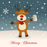 Merry Christmas with Drunk Reindeer Royalty Free Stock Photography