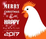 Merry Christmas e-card with rooster and designed text. Vector illustration. Vector illustration of Merry Christmas e-card with cock and designed text Royalty Free Stock Images