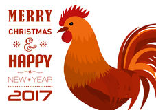 Merry Christmas e-card with rooster and designed text. Vector illustration. Vector illustration of Merry Christmas e-card with cock and designed text Stock Photography