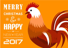 Merry Christmas e-card with rooster and designed text. Vector illustration. Vector illustration of Merry Christmas e-card with cock and designed text Stock Photo